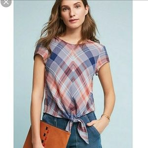 🆕Anthropologie XL, Cloth&Stone Tie Plaid Top